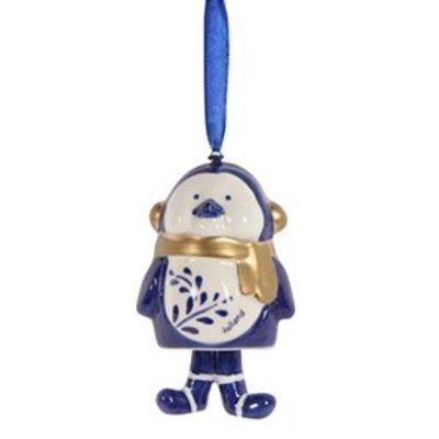 Typisch Hollands Christmas pendant Penguin with scarf Holland blue gold.