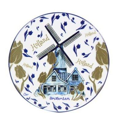 Typisch Hollands Untersetzer Windmühle blaues Gold