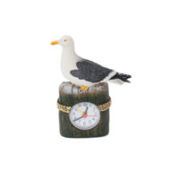 Typisch Hollands Seagull on beach pole with clock