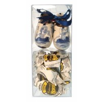 Typisch Hollands Gift box - clogs Delft blue 6 cm with hops.