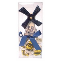 Typisch Hollands Gift box - windmill Delft blue 6 cm with hops.