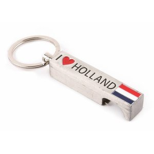 Typisch Hollands Sleutelhanger opener I love Holland zilver