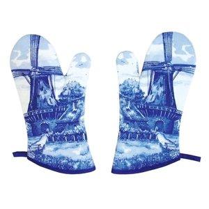 Typisch Hollands Oven gloves - set a 2 - Windmill - Delft blue