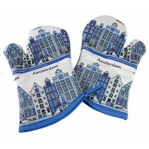 Typisch Hollands Ofenhandschuhe - 2er-Set - Fassadenhäuser - Delfter Blau