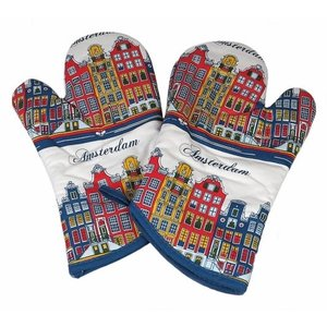 Oven gloves - set of 2 - Facade houses - Colored