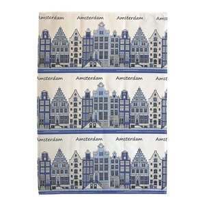 Typisch Hollands Tea towel facades -Blue - Amsterdam