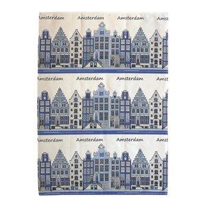 Typisch Hollands Theedoek gevels -Blauw - Amsterdam