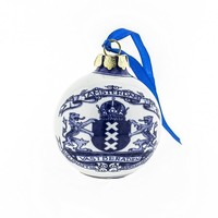 Typisch Hollands Christmas bauble Delft blue - Amsterdam (coat of arms)