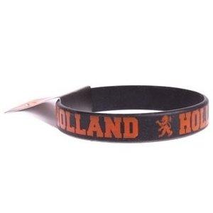 Typisch Hollands Armband - Gummi - Schwarz - Orange Text