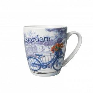 Heinen Delftware Kleine mok - Modern Delfts blauw - Amsterdam Fiets