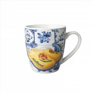 Typisch Hollands Kleine Tasse - Modernes Delfter Blau - Fliesendruck und gelbe Clogs