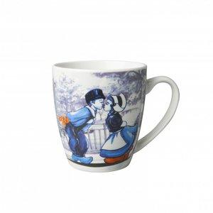 Heinen Delftware Kleine mok - Modern Delfts blauw - Kussend paar Holland