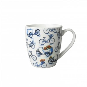 Typisch Hollands Small mug - Modern Delft blue - Bicycle all over print