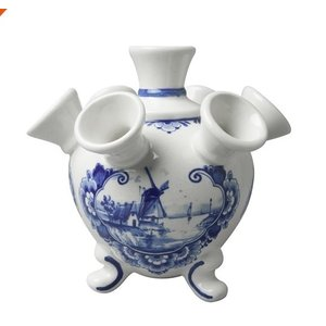 Delft blue tulip vase on legs - Windmill landscape small
