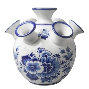 Heinen Delftware Tulpenvase - Blumendekoration - Flacher Boden