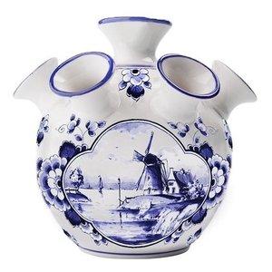 Heinen Delftware Tulpen vaas - Delfts blauw Molen in waterlandschap