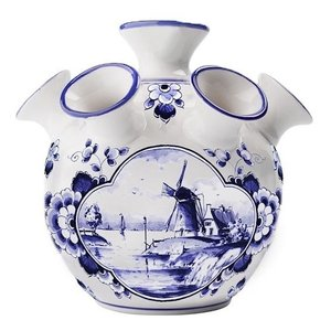 Tulip vase - Delft blue Windmill in water landscape