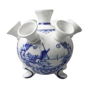 Heinen Delftware Delfts blauwe tulpenvaas op pootjes - Molenlandschap groot