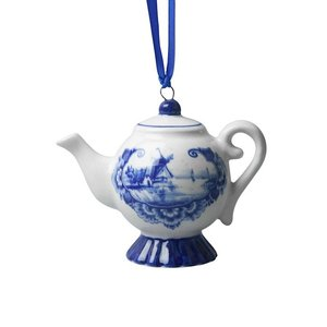 Typisch Hollands Kersthanger - Delfts blauw - Theepotje