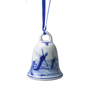 Heinen Delftware Kerst-klokje molens - Delfts blauw