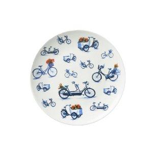 Heinen Delftware Bord fietsen 20 cm - Modern Delfts blauw