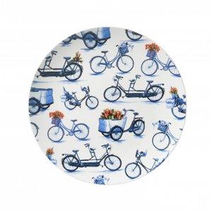 Heinen Delftware Bord fietsen 26.5 cm - Modern Delfts blauw