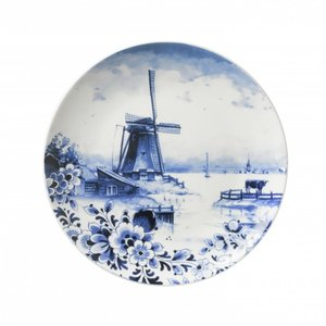 Typisch Hollands Delfts blauw wandbord 20.5 cm - Molenlandschap (bloemen)