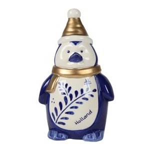 Typisch Hollands Kerstdecoratie - Pinguïn muts Holland blauw goud - 16cm