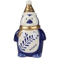 Typisch Hollands Kerstdecoratie - Pinguïn muts Holland blauw goud - 22cm