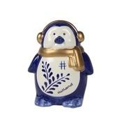 Typisch Hollands Kerstdecoratie - Pinguïn oorwarmer Holland blauw goud 10cm