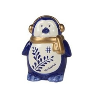 Typisch Hollands Christmas decoration - Penguin ear warmer Holland blue gold 10cm