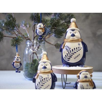 Typisch Hollands Kerstdecoratie - Pinguïn oorwarmer Holland blauw goud 15cm