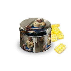 Typisch Hollands Snoepblik - Gevuld - Het Melkmeisje van Vermeer - boterruitjes