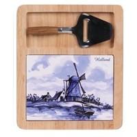 Typisch Hollands Käsebrett (Delfter Blau mit Minihobel - holländische Windmühle und Boot