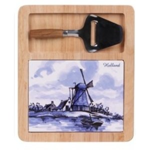 Typisch Hollands Cheese board (Delft blue with mini slicer - Dutch windmill and boat