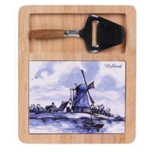 Typisch Hollands Kaasplank( Delfts blauw- met minischaaf - Hollandse Molen en bootje