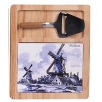 Typisch Hollands Kaasplank( Delfts blauw- met minischaaf - Hollandse Molens