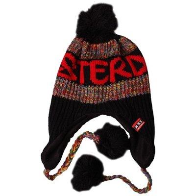Typisch Hollands Amsterdam Fashion - Flapmuts met bolletjes  - Zwart -Rood-melee