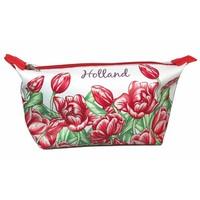 Typisch Hollands Toilet bag - Red - tulip motif