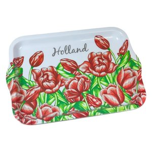 Typisch Hollands Dienblad groot tulpen rood.