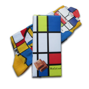 Holland sokken Mondrian Gift Set - Socks and Chocolate - Men