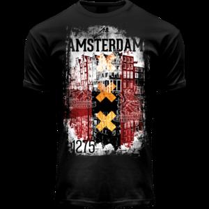 Holland fashion T-Shirt- Zwart  Amsterdam  - (vlag  Rood-Wit-Zwart)