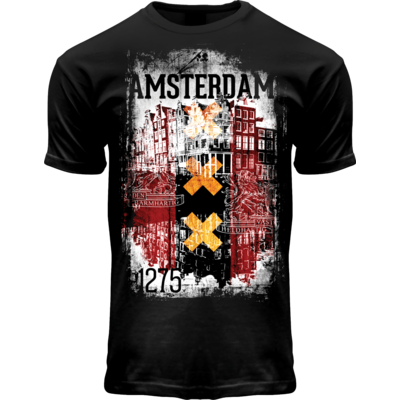 FOX Originals T-Shirt- Zwart  Amsterdam  - (vlag  Rood-Wit-Zwart)