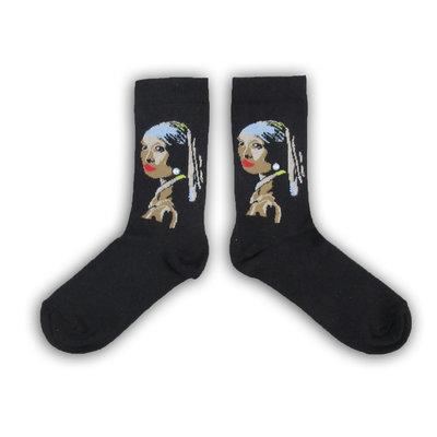 Typisch Hollands Vermeer`s (Mädchen mit der Perle) Damensocken - (Kunstsammlung)