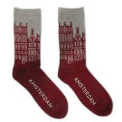 Robin Ruth Men's Socks - Facade Houses Amsterdam - Bordeaux