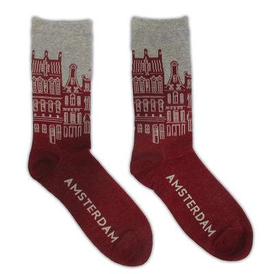 Holland sokken Men's Socks - Facade Houses Amsterdam - Bordeaux