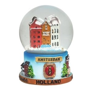 Typisch Hollands Schneekugel Amsterdam - Giebelhäuser- Groß 8 cm