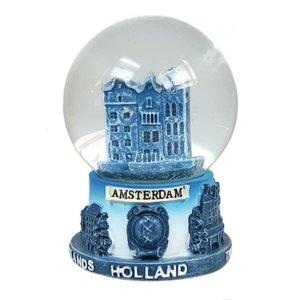 Typisch Hollands Sneeuwbol Delfts blauw - gevelhuisjes- Groot 8 cm