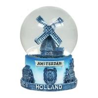 Typisch Hollands Schneekugel Delft blau - Windmühle - Groß 8 cm