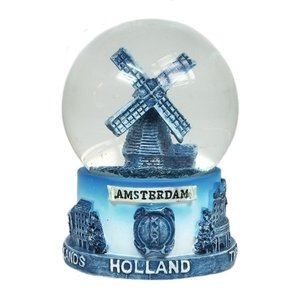 Typisch Hollands Sneeuwbol Delfts blauw - molen- Groot 8 cm